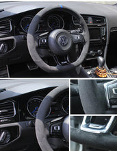 Synthetic Cashmere Steering Wheel Cover for VW Golf MK7 GTI (Grey Rope Blue Mark)