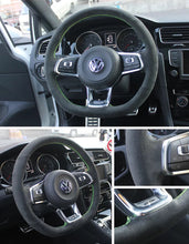Synthetic Cashmere Steering Wheel Cover for VW Golf MK7 GTI (Green Rope Blank Mark)