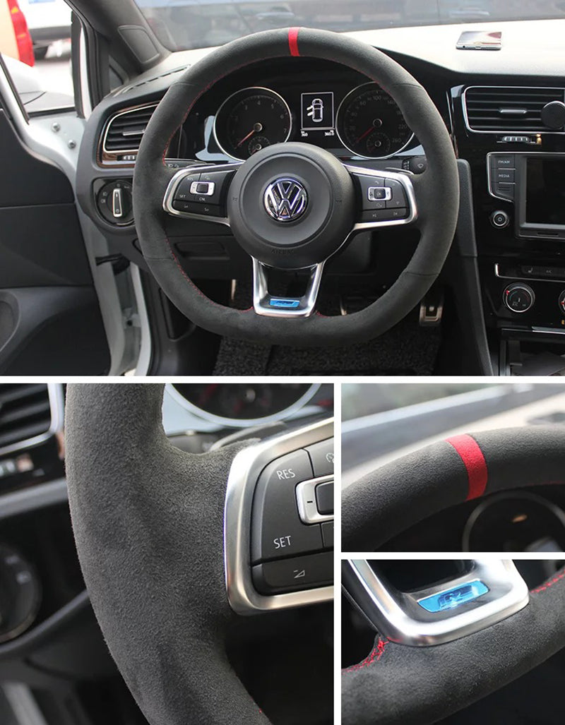 Synthetic Cashmere Steering Wheel Cover for VW Golf MK7 GTI (Red Rope Red Mark)