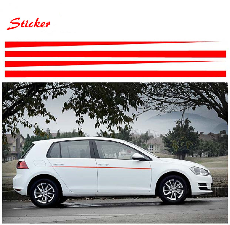 Red Side Stripes Decal Sticker for VW Golf