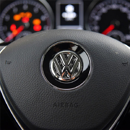 Steering Wheel Carbon Fiber Sticker Badge Emblem for VW Models