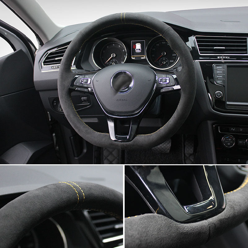 Synthetic Cashmere Made Steering Wheel Cover for VW MK6 Teramont Touran PASSAT MAGOTAN TIGUANL