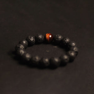 Retro Natural 12MM Volcanic Woody Black Tiger Eye Crystal Stone Bracelet