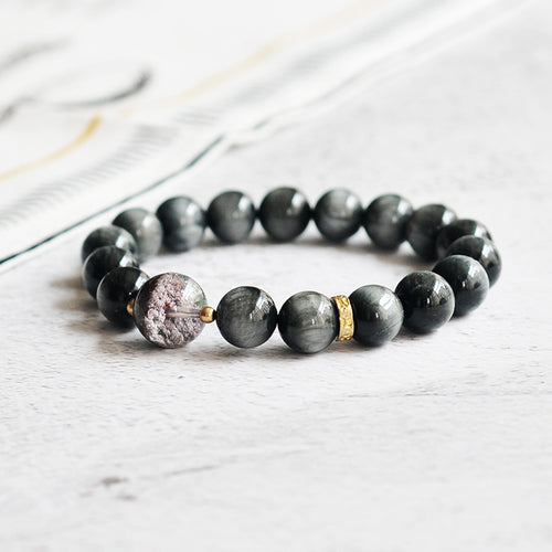 Fabolouz Natural Black and Grey Eagle's Eye Stone Hawk-Eye Stone Bracelet