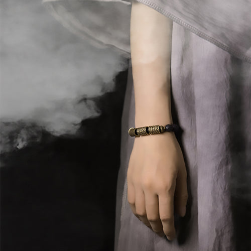 Fabolouz Natural Dark Ebony Woody and Long Brass Cooper Bracelet - Fabolouz