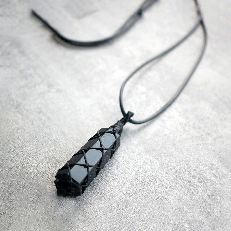 Natural Obsidian Stone Crystal with Black Rope Necklace - Fabolouz