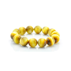 Fabolouz Natural Light Yellow Tigerite Tiger's Eye Stone Bracelet