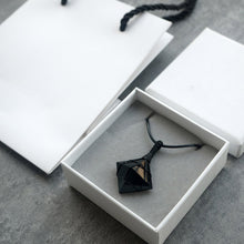 Natural Black Diamond-Shaped Obsidian Stone Crystal with Black Rope Necklace