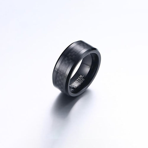 Real Carbon Fiber Titanium Ring Wedding Band 8MM Black Plated Ring