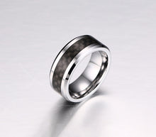Real Carbon Fiber Silver Titanium Ring Wedding Band 8MM Black Core Ring - Fabolouz