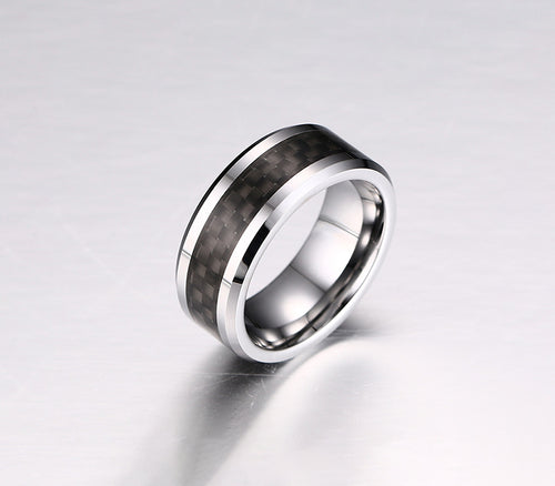 Real Carbon Fiber Silver Titanium Ring Wedding Band 8MM Black Core Ring