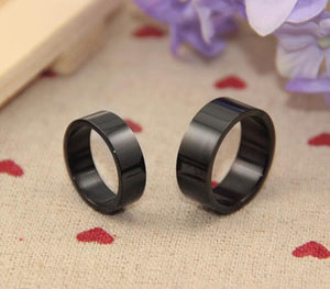 Titanium Steel Ring Wedding Band 8MM 6MM Black Plated Ring