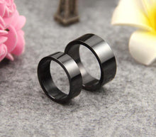 Titanium Steel Ring Wedding Band 8MM 6MM Black Plated Ring - Fabolouz