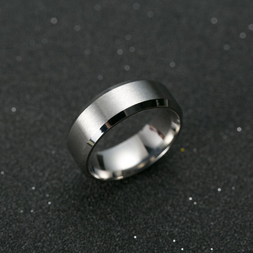 Simple Titanium Steel Silver Ring Wedding Band Ring