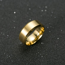Simple Titanium Steel Gold Color Ring Wedding Band Ring
