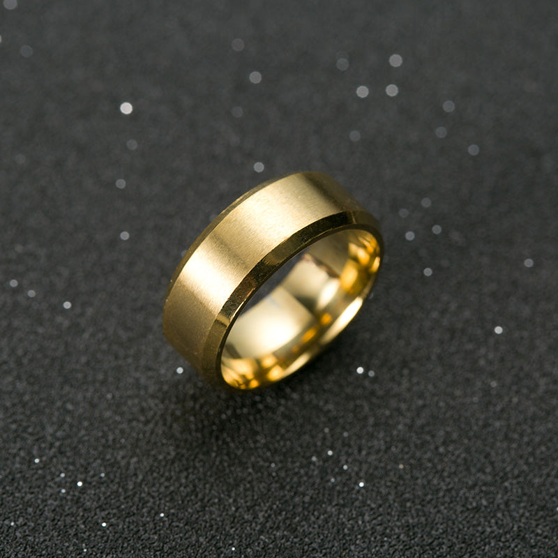 Simple Titanium Steel Gold Color Ring Wedding Band Ring - Fabolouz