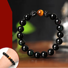 Fortunate Natural Pixiu Yellow Red Tiger-Eye Obsidian Stone Bracelet - Fabolouz