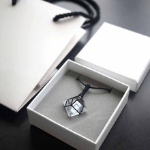 Natural White Diamond-Shaped Crystal with Black Rope Necklace - Fabolouz