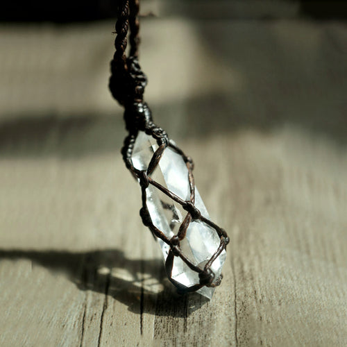 Natural White Crystal with Black Rope Necklace