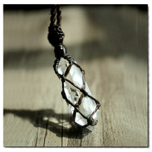 Natural White Crystal with Black Rope Necklace - Fabolouz