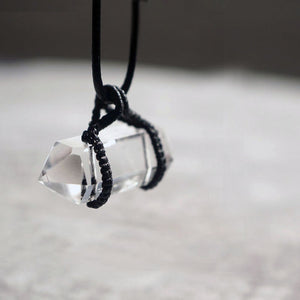 Natural Clean White Crystal Pendant with Black Rope Necklace - Fabolouz