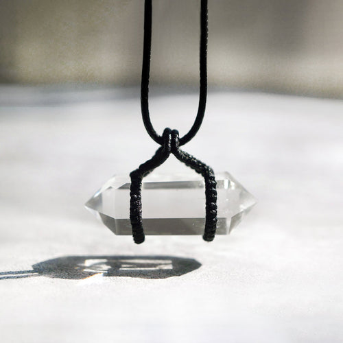 Natural Clean White Crystal Pendant with Black Rope Necklace