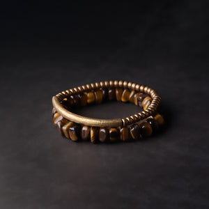 Fabolouz Natural Brown Tigerite Tiger's Eye and Brass Cooper Bracelet - Fabolouz