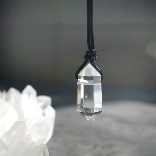 Natural White Crystal Pendant with Black Rope Necklace - Fabolouz