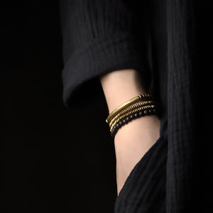 Fabolouz Natural Dark Volcanic Woody and Long Brass Cooper Bracelet - Fabolouz