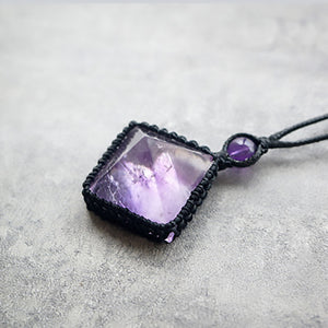Natural Purple Diamond Shaped Crystal with Black Rope Necklace - Fabolouz
