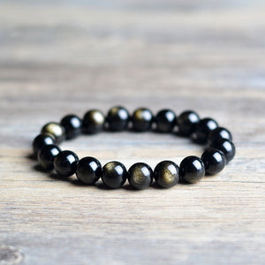 Fabolouz 8-14MM Natural Gold Sheen Obsidian Stone Bracelet