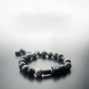 Retro Natural Volcanic Black Woody Stone Buddha Bracelet