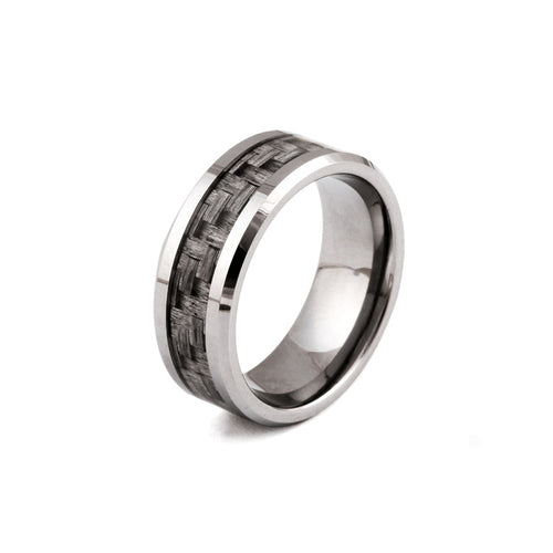 Real 8MM Steel Ring Carbon Fiber Finger Ring