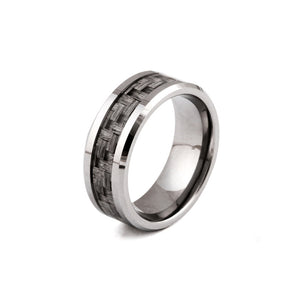 Real 8MM Steel Ring Carbon Fiber Finger Ring - Fabolouz