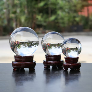 Clear Fortune Crystal Ball (8 - 13cm) Including Wooden Stand and Gift Package for Family Decorative Figurine - Fabolouz