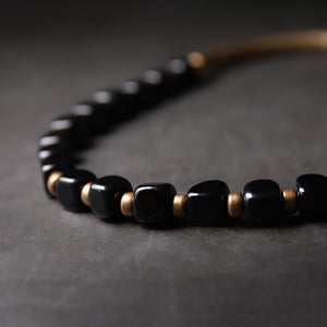 Fabolouz Natural Black Agate and Brass Cooper Bracelet - Fabolouz