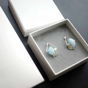 Natural Aquamarine Handmade Crystal Earrings - Fabolouz