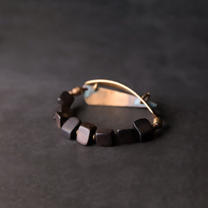 Fabolouz Natural Black Agate and Long Brass Cooper Bracelet