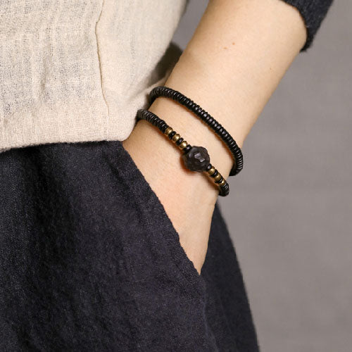 Fabolouz Natural Dark Ebony Woody and Brass Cooper Bracelet