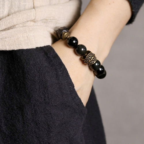 Fabolouz Natural Black Agate and Black Dark Obsidian Stone Bracelet