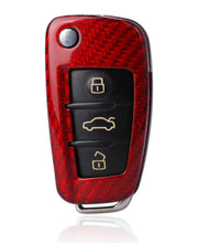 Carbon Fiber Made Remote Flip Key Case for A3 A4 TT A6 A3 Q5 (Red)