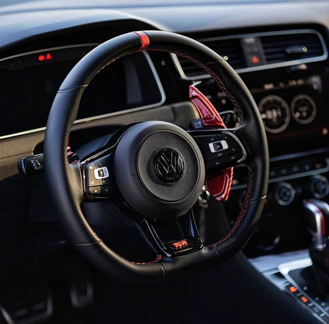 Real Red Carbon Fiber DSG Steering Wheel Paddle Shifter Extension for VW Golf MK7 Scirocco GTi R