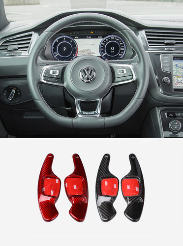 Real Carbon Fiber DSG Steering Paddle Shifter Extension for Volkswagen VW Tiguan L