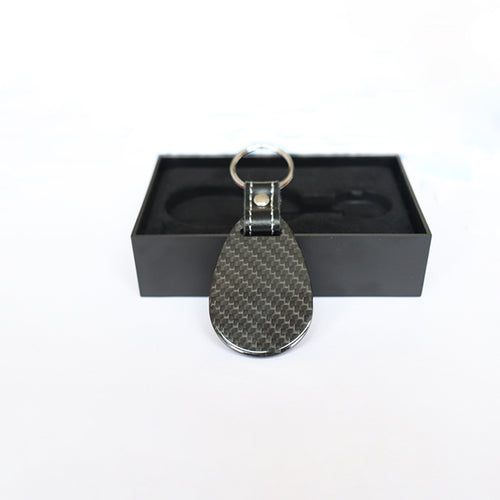 Real Carbon Fiber Key Chain Key Fob with Stitched Leather (Style B) - Fabolouz