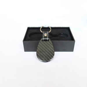 Real Carbon Fiber Key Chain Key Fob with Stitched Leather (Style B)