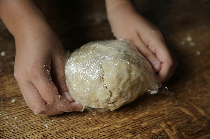 Cover and seal the dough with plastic wrap or put it in a sealed plastic bag