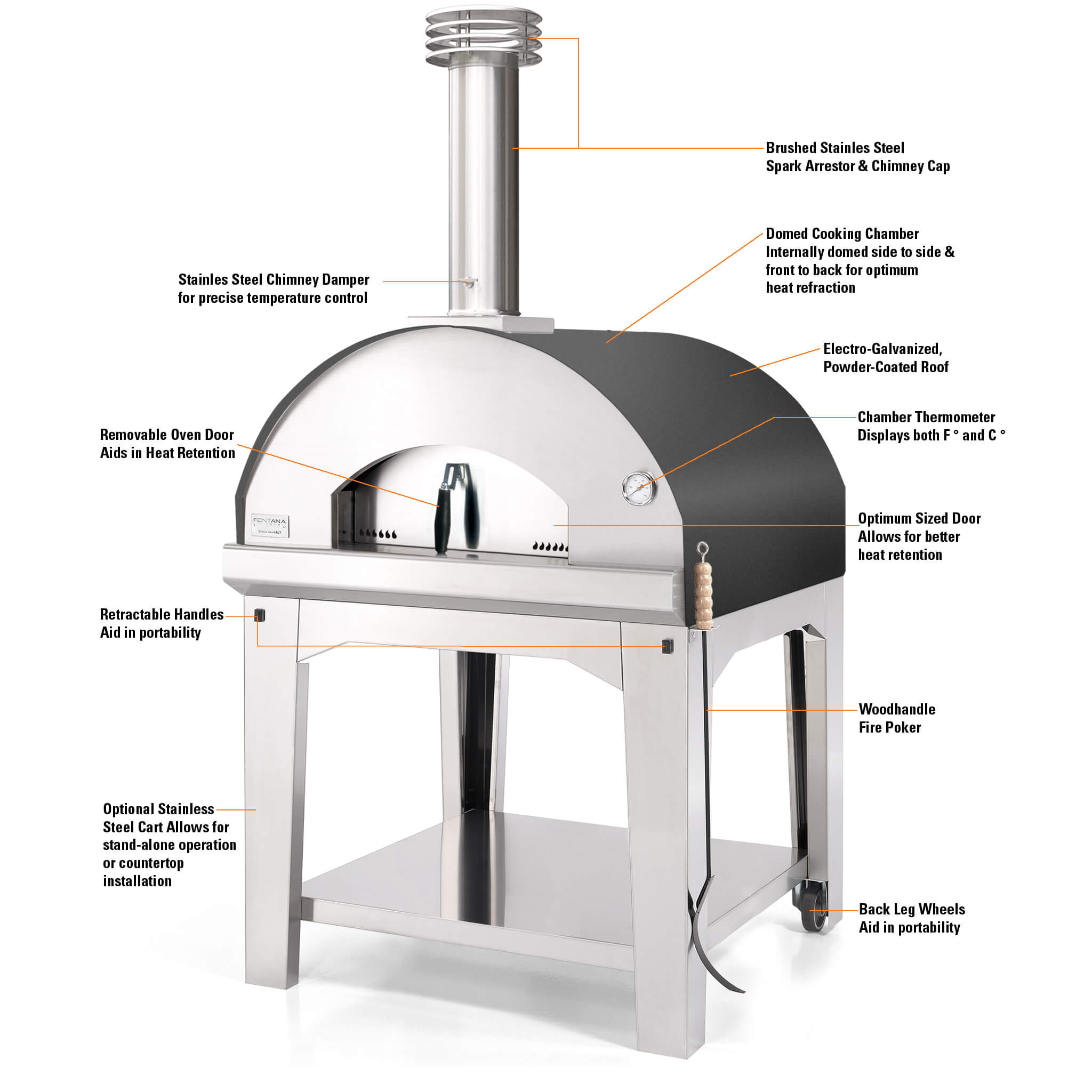 Features of the Marinara Wood-fired Pizza Oven