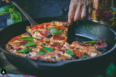 delicious pizza in a pan