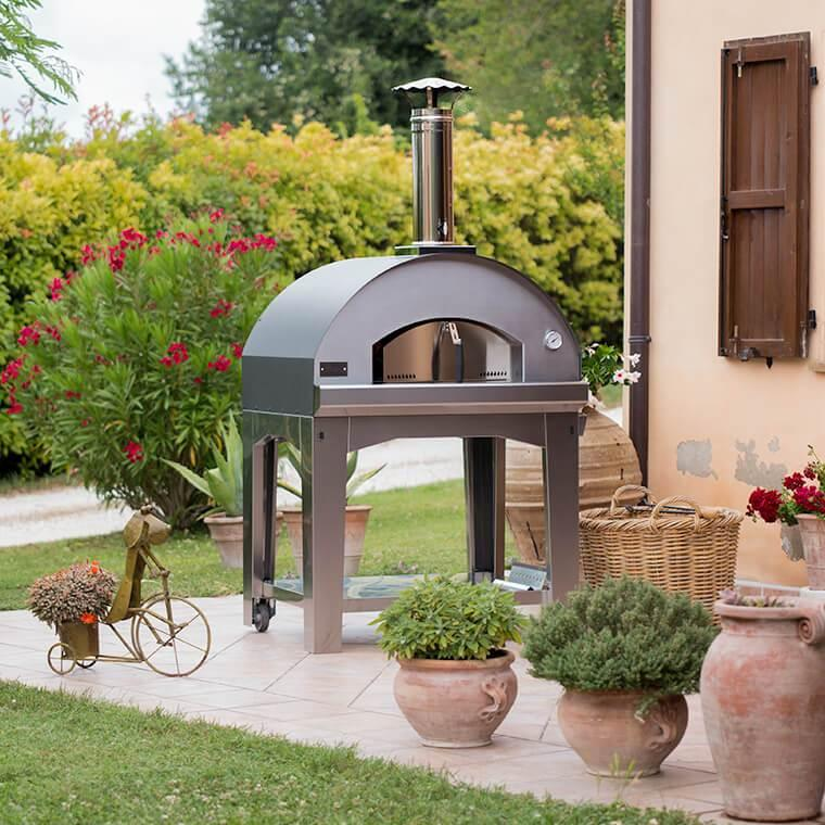 outdoor pizza oven at backyard