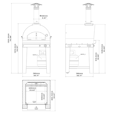 Margherita Home Gas Pizza Oven Dimensions